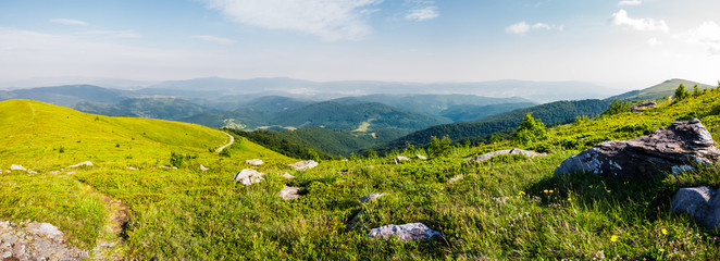panoramic view from the hillside. beautiful mountain Carpathian landscape