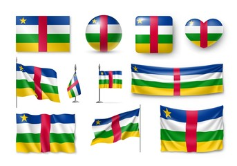 Set Central African Republic flags, banners, symbols, flat icon. Vector illustration of collection of african national symbols on various objects and state signs