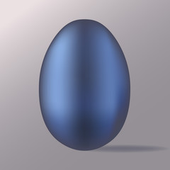 Vector image of 3D egg. Blue metallic egg icon.