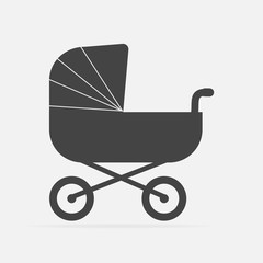Vector illustration classic baby carriage. baby pram on gray background