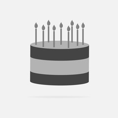 Vector cake icon. Cake with candles