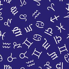 Infinite pattern with zodiac signs. Seamless zodiac background.