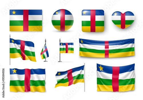 Set Central African Republic Flags Banners Symbols Flat Icon