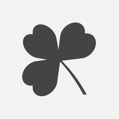 Vector icon three-leafed clover. Vector illustration on a gray background