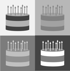 Vector cake set icon. Cake with candles