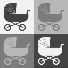 Vector set  illustration classic baby carriage. baby pram on gray background