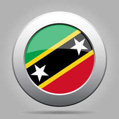 Flag of Saint Kitts and Nevis. Metal round button.