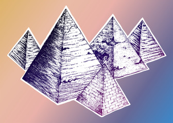 Egyptian pyramids in hand drawn dot work style.