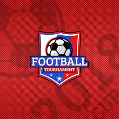2018 Football cup logo, football ball on the flag of russia national colors sport emblem, championship poster red background