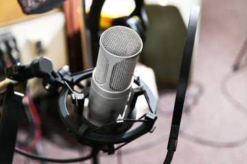 View of microphone at radio station