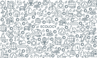 Thin line design ecology banner