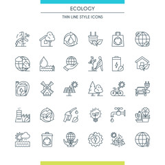 Thin line design ecology icons