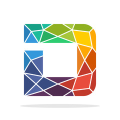 logo icon initial letter D with the concept of colorful mosaic style