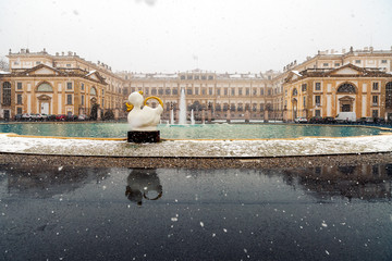 Late winter snowfall on the amazing Royal Villa of Monza, Italy