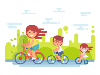 Active family vacation. Mother, son and daughter are riding on bicycles in the park. Vector illustration of a flat style.