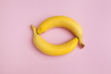 two banana-shaped eyes on a blue background
