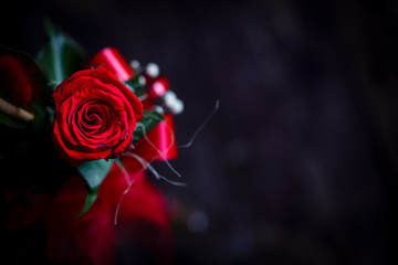 top view of Red rose flower on vintage wooden background.