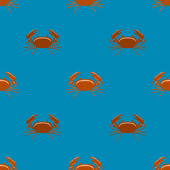 Boiled Red Crab with Giant Claws Seamless Pattern on Blue Background. Fresh Seafood Icon. Delicous Appetizer.