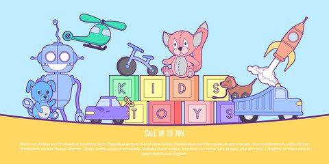 Cute kids toys shop banner with set of different toys for boys and girls isolated. Vector background eps10 illustration.