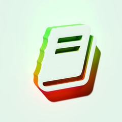 White File Text Icon. 3D Illustration of White Document, File, Text, Word Icons With Orange and Green Gradient Shadows.