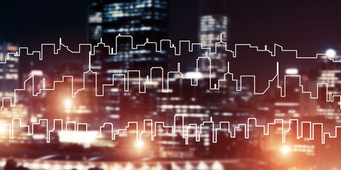 Background conceptual image of night illuminated town as symbol
