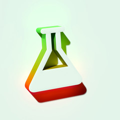 White Flask Icon. 3D Illustration of White Chemical, Chemistry, Empty Flask, Experiment, Lab Icons With Orange and Green Gradient Shadows.