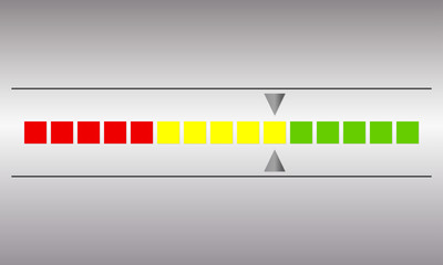 Meter and gauge icon. Horizontal speedometer with red, yellow and green colors. Progress indicator symbol. Vector illustration.