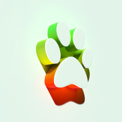 White Paw of Pet Icon. 3D Illustration of White Animal, Dog, Foot, Paw, Pet, Pets, Print Icons With Orange and Green Gradient Shadows.