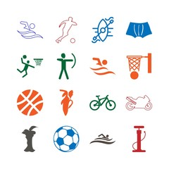 Sport Icon Set with ride, apple , fuits, swimming , basketball , pump , pictogram and soccer player
