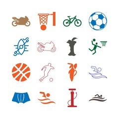 Sport Icon Set with water sport, swimming , fuits, air, ball, banana , kayaking  and soccer
