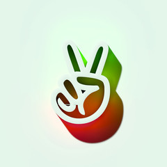 White Hand Peace Icon. 3D Illustration of White Fingers, Hand, Palm, Peace, Twice, Two Icons With Orange and Green Gradient Shadows.