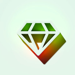 White Diamond Icon. 3D Illustration of White Diamond, Gemstone, Investment, Jewelry Icons With Orange and Green Gradient Shadows.