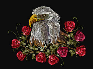 Embroidery head white eagle and roses. Template for clothes, textiles, t-shirt design. Classical embroidery hawk head