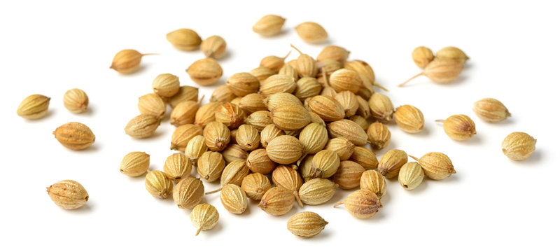 close up of dried coriander seeds isolated on white