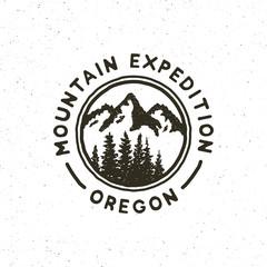 vintage wilderness logo. hand drawn retro styled outdoor adventure emblem. vector illustration