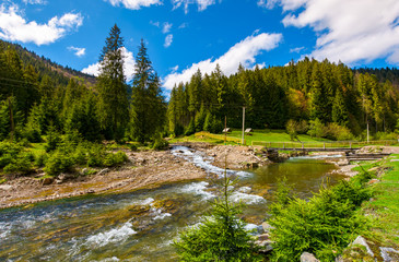 beautiful landscape with forest river in mountains. lovely springtime scenery on bright day with some clouds on a blue sky. wooden bridge to camping place in a distance