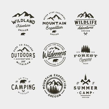 set of vintage wilderness logos. hand drawn retro styled outdoor adventure emblems. vector illustration