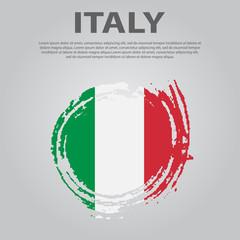 Italian flag. Flag of Italy, brush stroke background.