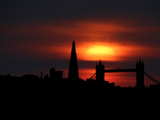 London skyline silhouette with sunset illustration