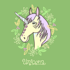 cartoon doodle unicorn portrait with frame of flowers and leaves