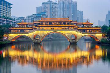 Chengdu, China River and Bridge