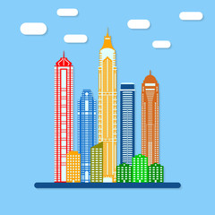 Modern city view with skyscrapers. Urban landscape in flat style. Buildings set. Vector illustration.