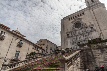 Cathedral view decoratedl in spring flower festival Temps de Flors, Girona, CataloniaSpain.