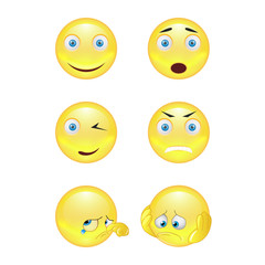 Set of smiley face icons or yellow emoticons