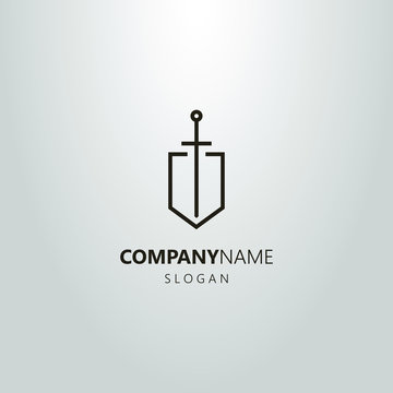black and white linear sword logo on the shield