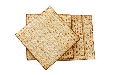 passover background with matzoh isolated on white.