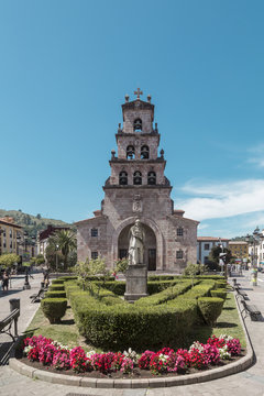Don Pelayo and the Church of the Assumption in Cangas de Onis, Asturias, Spain