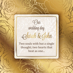 Intricate baroque luxury wedding invitation card, rich gold decor on beige background with frame and place for text, lacy foliage with shiny gradient.