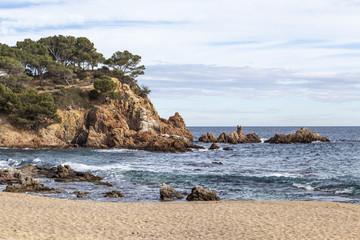 Seascape of Costa Brava, beach, S Agaro, Catalonia, Spain.