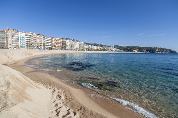 Mediterranean beach in Costa Brava, Lloret de Mar,Catalonia.Spain.
